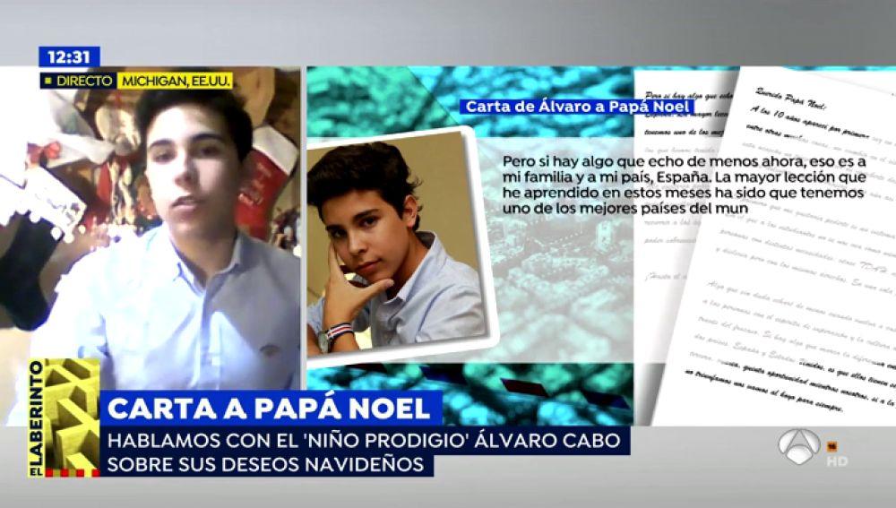 """La carta a Papa Noel de Álvaro Cabo, el 'niño prodigio': """"La política sigue dividiendo a las personas"""""""