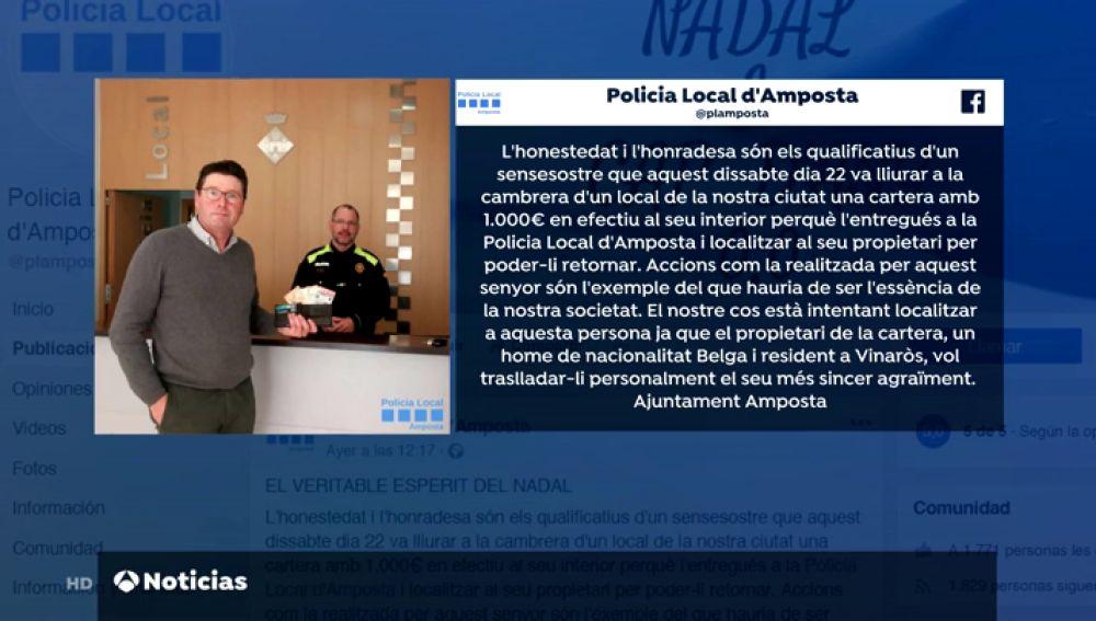 Un sintecho devuelve en Tarragona una cartera con mil euros que encontró