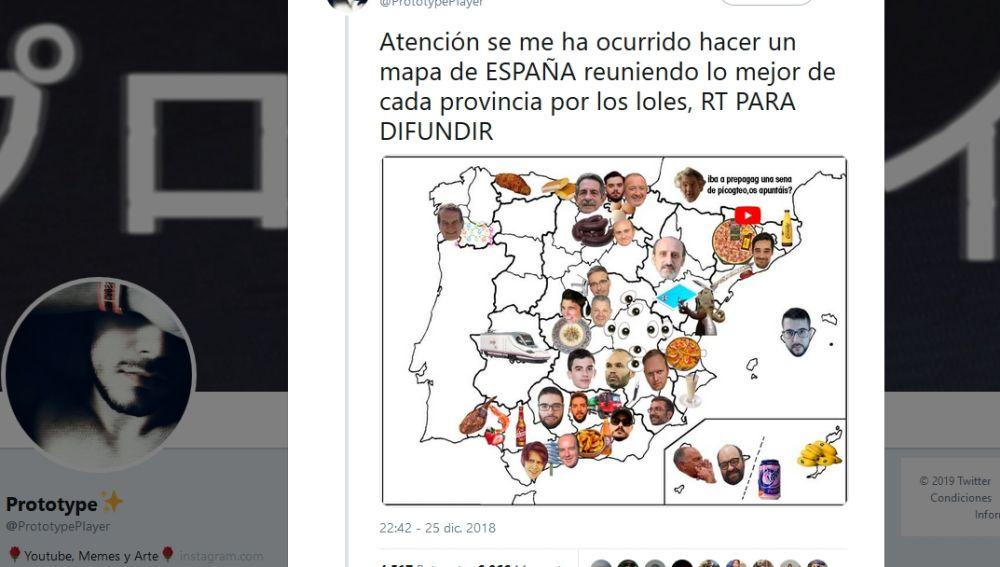 El mapa de los memes de España