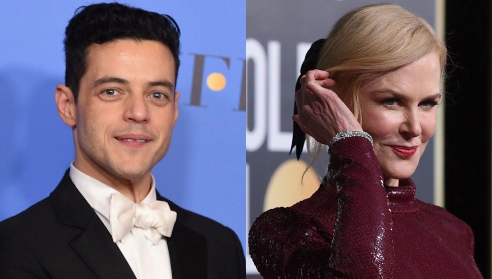 Rami Malek y Nicole Kidman en Los Globos de Oro