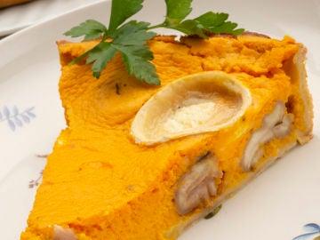Tarta salada de calabaza,castañas y queso de cabra