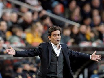 Marcelino, durante el partido contra el Valladolid