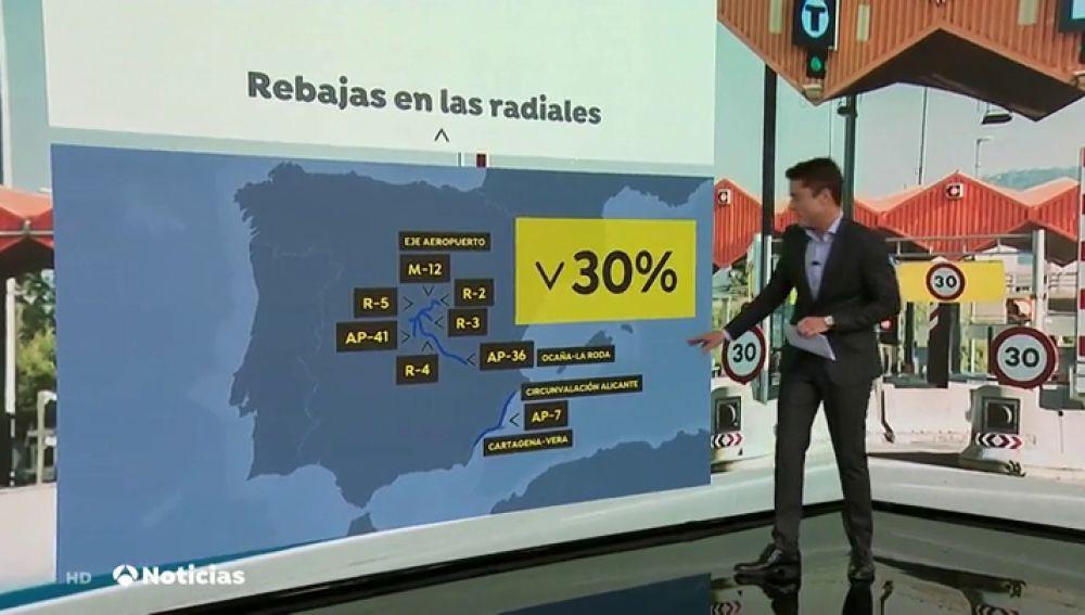 Las rebajas llegan a los peajes: las autopistas rescatadas bajan un 30% su precio y serán gratis por la noche