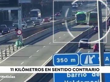 Un autobús con pasajeros circula 11 kilómetros en sentido contrario en el bus vao de Madrid