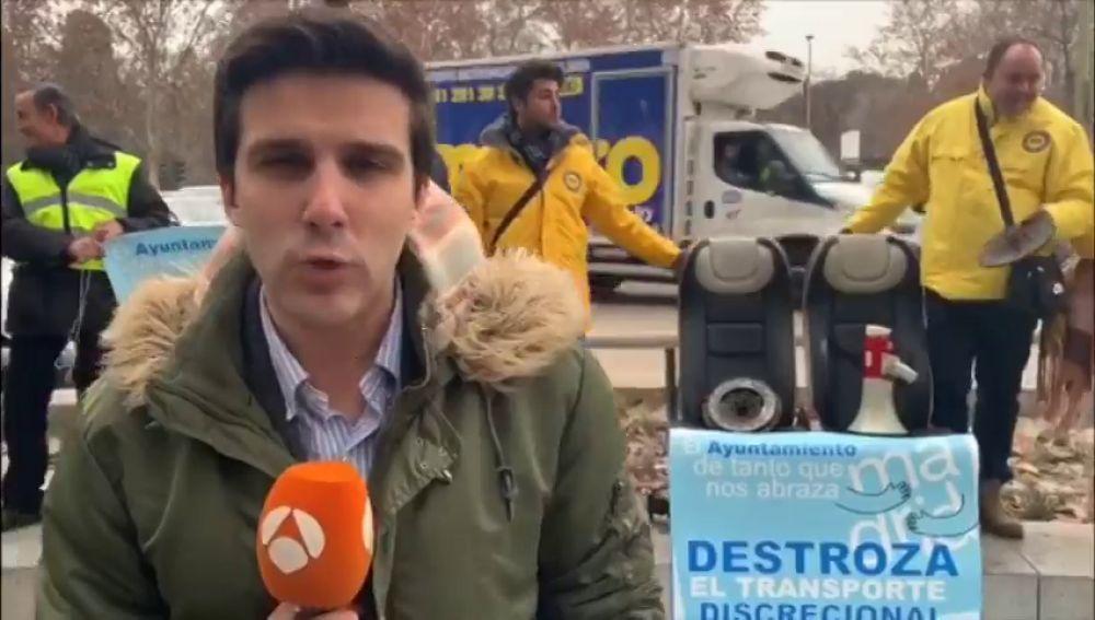 Concentración de los 'chalecos amarillos' del transporte discrecional contra Madrid Central
