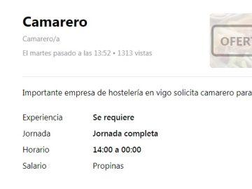 Oferta de empleo en Vigo