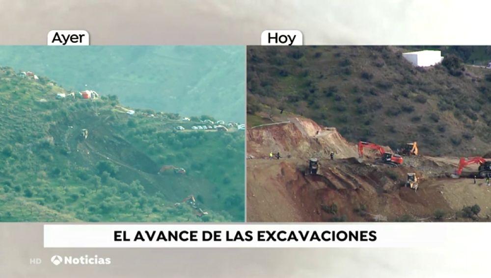 El avance de las excavaciones en torno al pozo de Totalán
