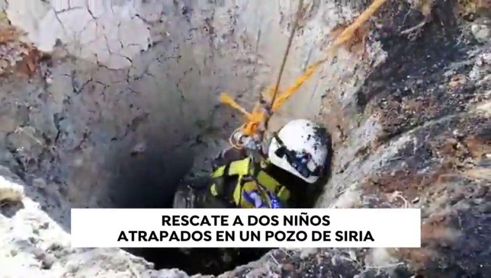 Rescatan a dos hermanos atrapados en un pozo en Siria