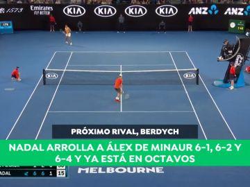 Rafa Nadal arrolla a Álex de Miñaur para meterse en los octavos de final del Open de Australia