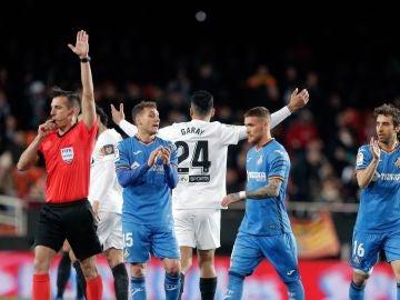 Estrada Fernández, en el Valencia vs Getafe en Mestalla