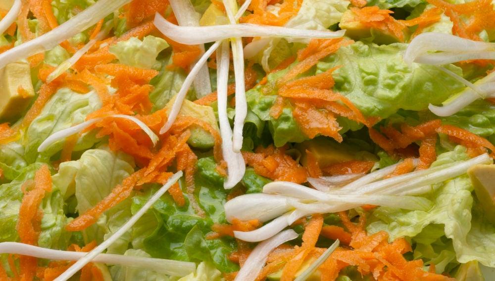 Ensalada de lechuga, aguacate y zanahoria
