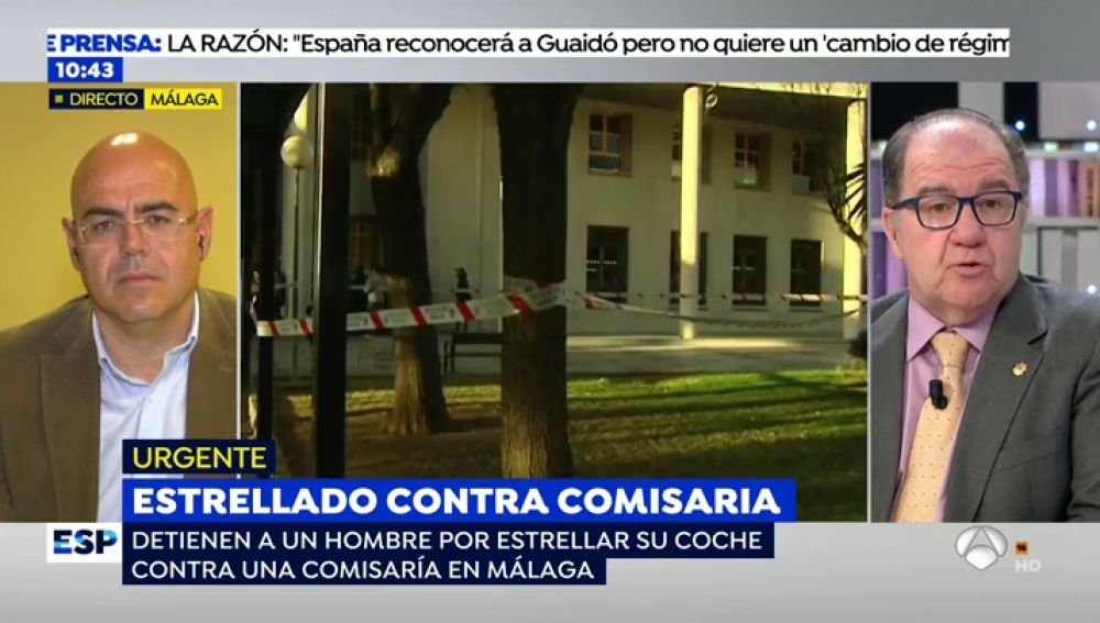 Un hombre de 30 años con intenciones suicidas empotra su vehículo contra la Comisaría Provincial de Málaga