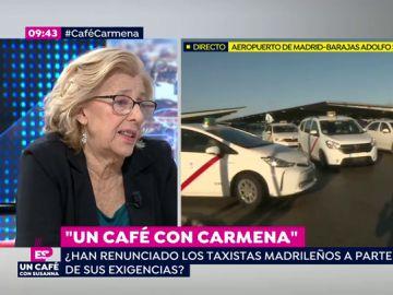 """Manuela Carmena: """"En Madrid los taxis tienen limitaciones y es lógico que también las tengan los VTC"""""""