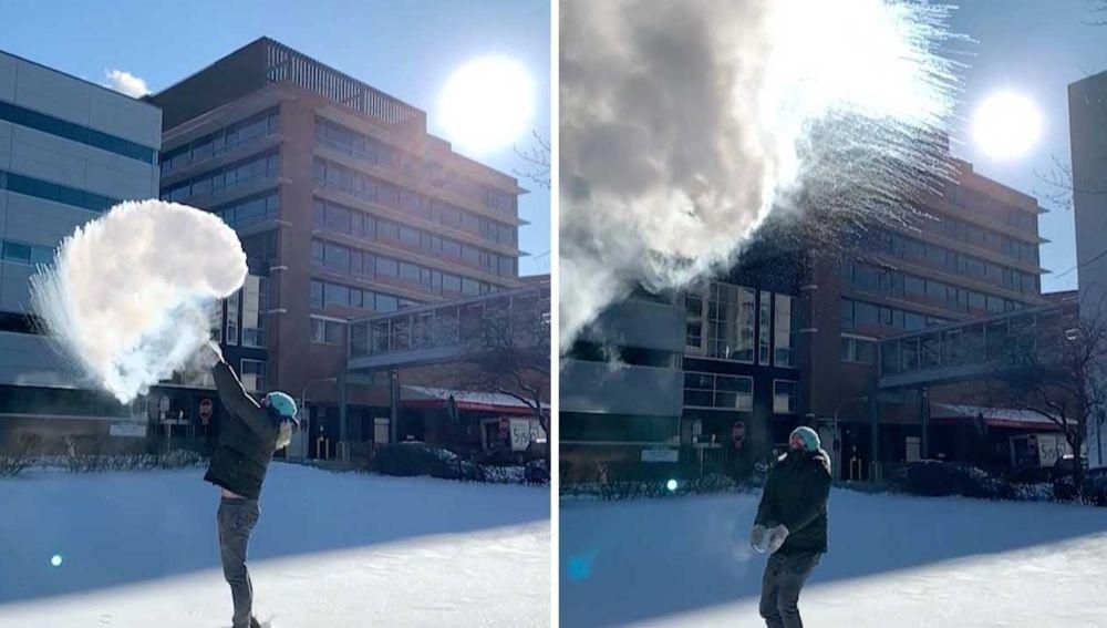 Transforma agua hirviendo en nieve
