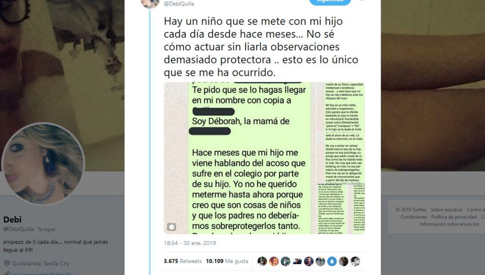 El tuit viral de @debiquilla