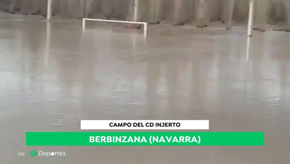 ¿Fútbol o waterpolo? Así quedó el campo del Injerto tras las lluvias en Navarra