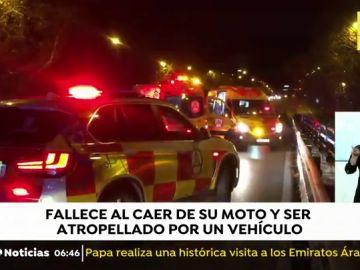 Un joven de 30 años muerte atropellado en Madrid después de caer de su moto