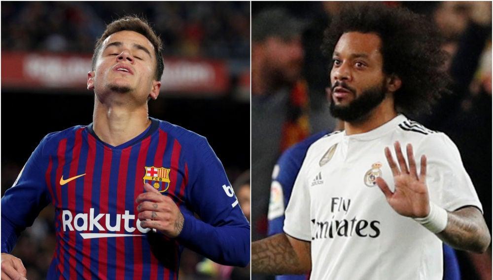 Coutinho y Marcelo en el partido del Camp Nou