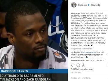 LeBron James critica el traspaso de Harrison Barnes en pleno partido
