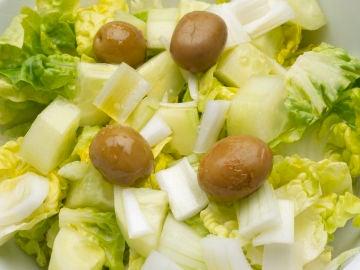 Ensalada de cogollos, pepino y cebolleta