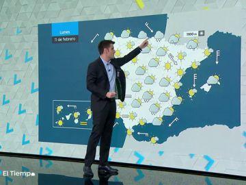 La semana comenzará con lluvia en P.Vasco y Pirineos y viento en el noreste