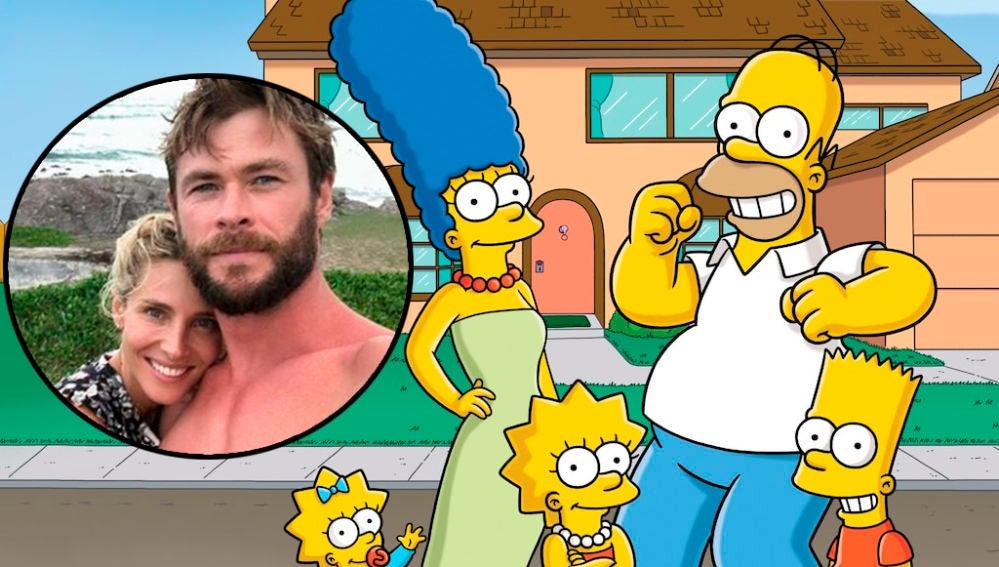 Chris Hemsworth y Elsa Pataky como 'Los Simpson'