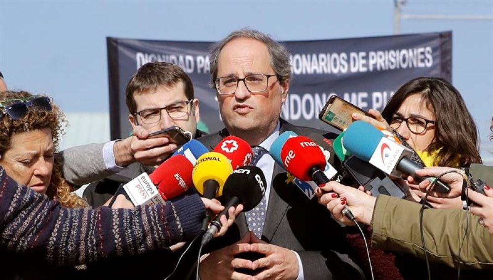 El presidente de la Generalitat, Quim Torra, ante los medios