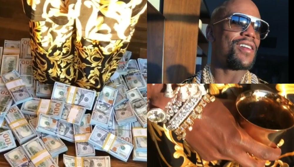 Floyd Mayweather vuelve a presumir de dinero y joyas