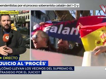El momento más tenso del juicio 'al procés': Una manifestación de hogar social se encuentra con un grupo de Esquerra