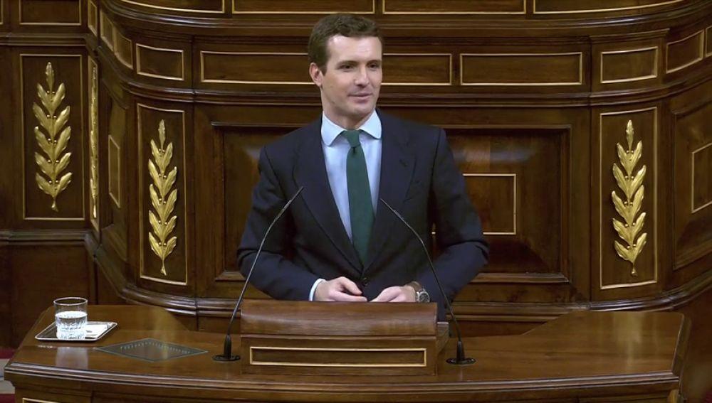 """Casado llama a Sánchez """"el presidente de la mentira"""": """"Ha traicionado la Constitución"""""""