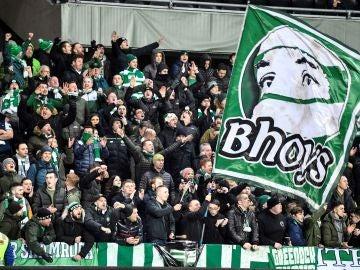 Aficionados del Celtic, durante un partido de Europa League