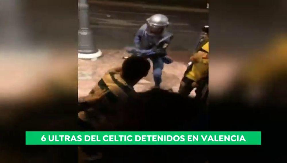 Seis aficionados del Celtic detenidos en Valencia tras agredir a varios agentes