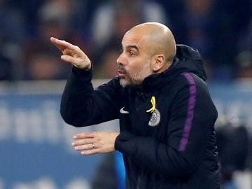 Pep Guardiola, durante el partido contra el Schalke 04