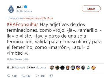 La respuesta de la RAE a una tuitera