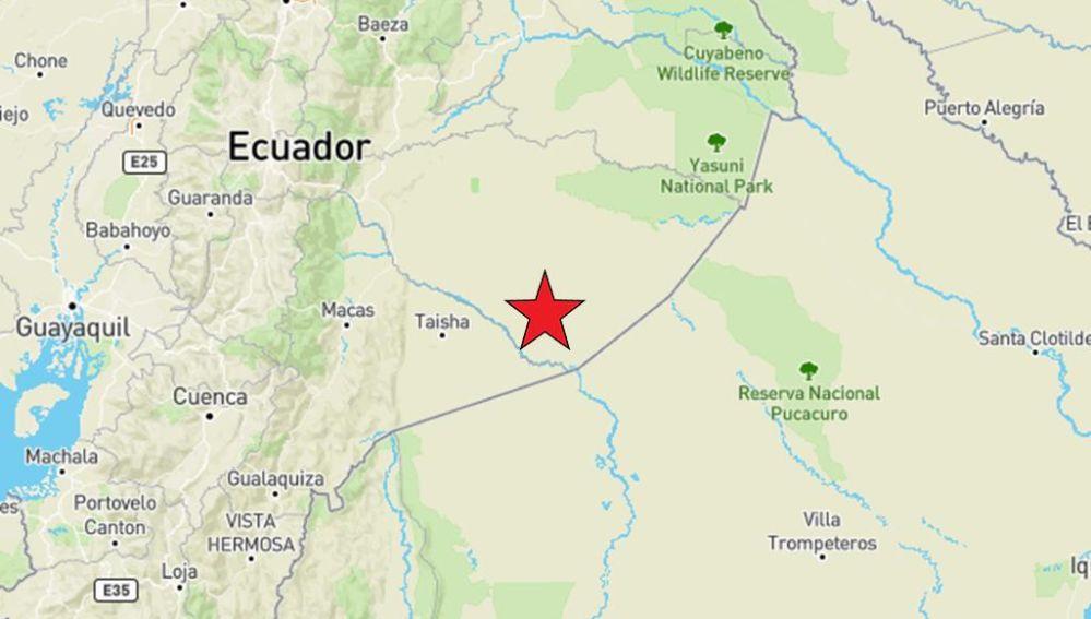 Punto donde se ha producido un terremoto en Ecuador