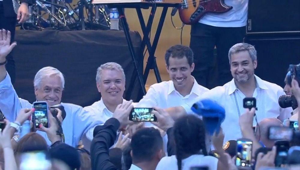Guaidó llega a concierto en Cúcuta y se junta a Duque, Piñera, Abdo y Almagro