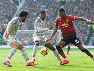 Marcus Rashford, en acción ante el Liverpool