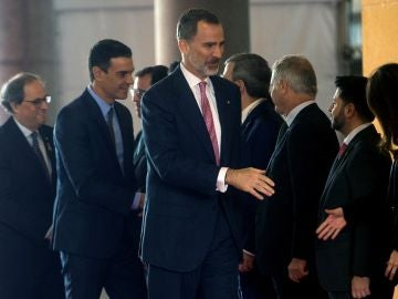 Felipe VI, Pedro Sánchez y Quim Torra