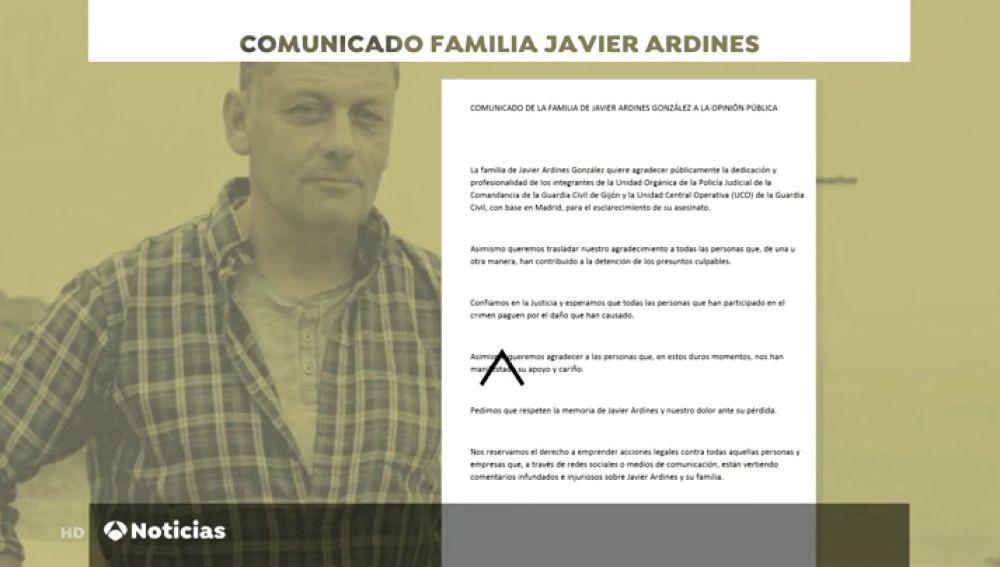 """La carta de la familia de Javier Ardines, el concejal de IU asesinado: """"Esperemos que paguen por el daño causado"""""""