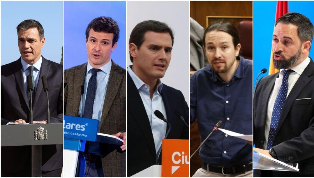 Líderes de los partidos que participarán en el debate de Atresmedia