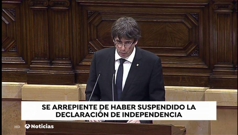 Puigdemont lamenta haber suspendido los efectos de declaración ilegal de independencia del 1-O