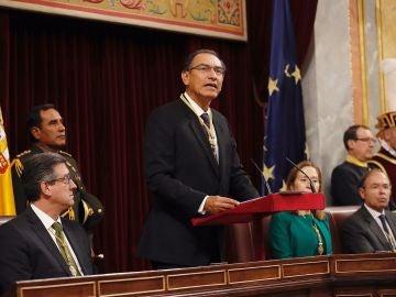 El presidente de Perú, Martín Vizcarra, durante su intervención