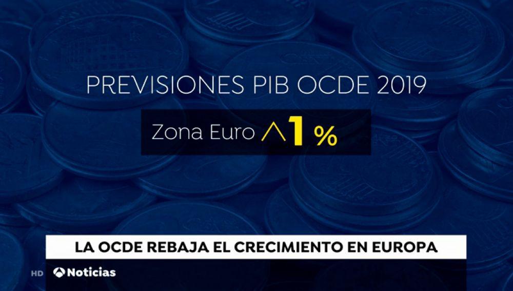 La OCDE rebaja el crecimiento de los países de la zona euro; España crece más que la media