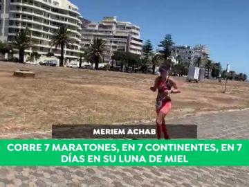 La particular luna de miel de Meriem Achab: corre siete maratones en siete continentes durante siete días