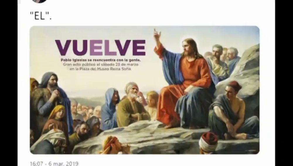 Los 'memes' por el polémico cartel de la vuelta de Pablo Iglesias