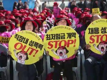 Sindicalistas surcoreanas en Seúl, Corea del Sur