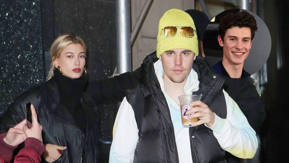 Justin Bieber, Hailey Baldwin y Shawn Mendes