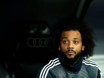 Marcelo, pensativo durante un partido del Real Madrid