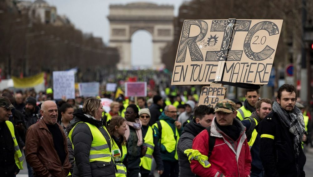 Imagen de las protestas de los chalecos amarillos en Francia