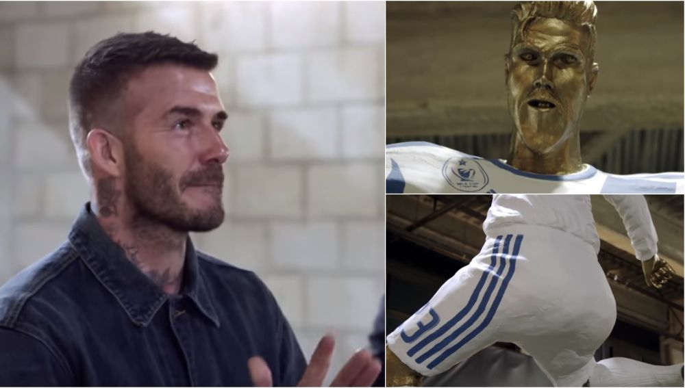 David Beckham y su estatua 'fake'